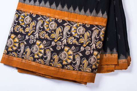 Ikat Woven Kalkamkari Block Printed Border Cotton Fabric