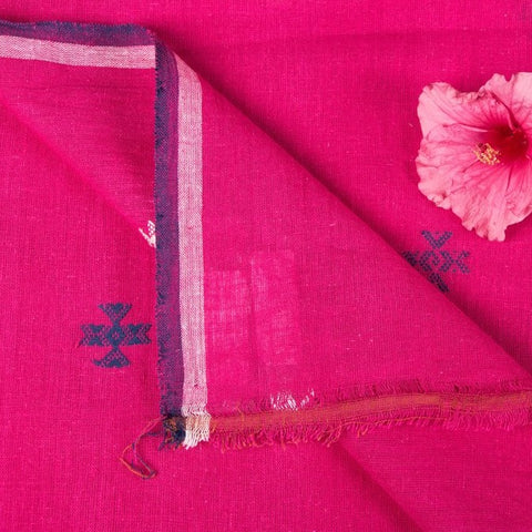 Organic Kala Cotton Pure Handloom Hot Pink Chaumukh Fabric