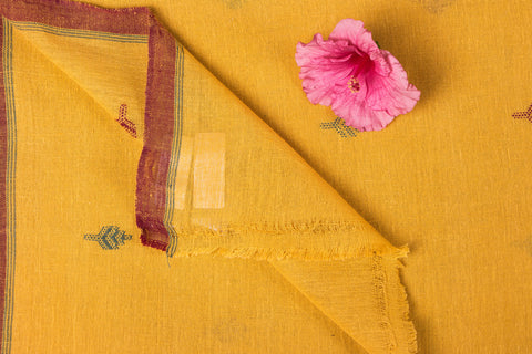 Organic Kala Cotton Pure Handloom Yellow Buti Fabric