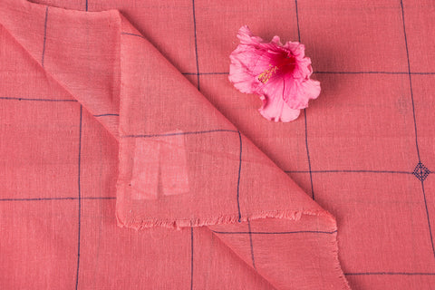 Organic Kala Cotton Pure Handloom Light Pink Line Buti Fabric