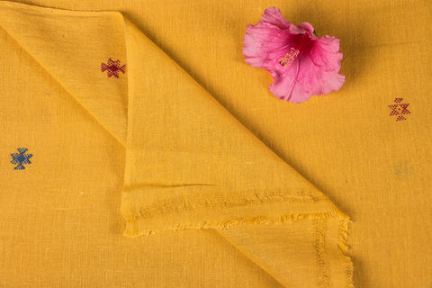 Organic Kala Cotton Pure Handloom Yellow Chaumukh Fabric