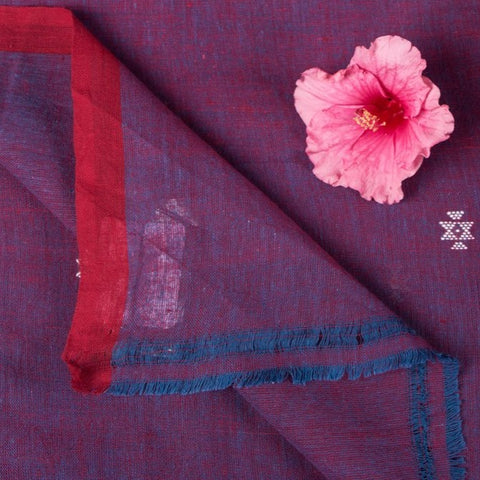 Organic Kala Cotton Pure Handloom Dark Purple Chaumukh Fabric