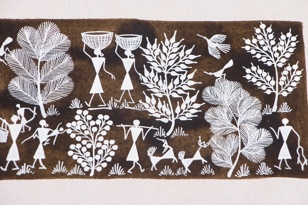 Traditional Handpainted Warli Painting On Canvas