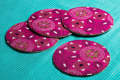 Bolpur Kantha Embroidery Coasters - Set of 4
