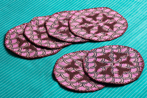 Kantha Embroidery Fabric Coasters - Set of 6