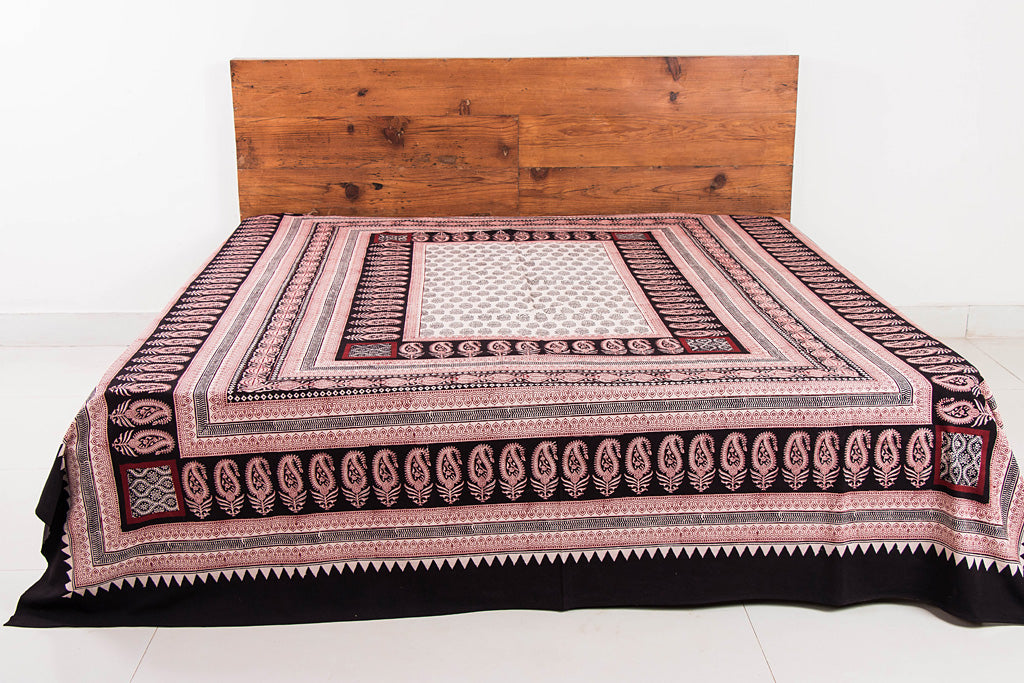 Bagh Hand Block Print Natural Dyed Pure Cotton Double Bed Cover (108 in x 88 in)