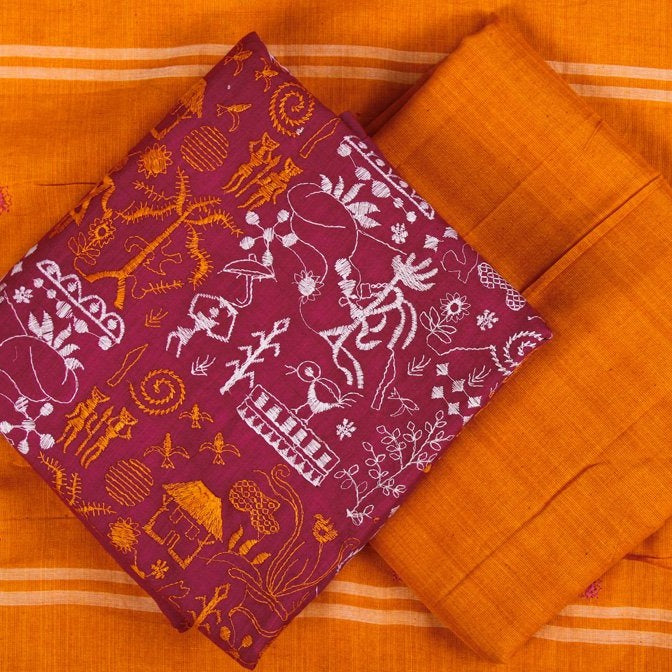 Tribal Nuapatna Embroidery Handloom Cotton 3pc Suit Material Set