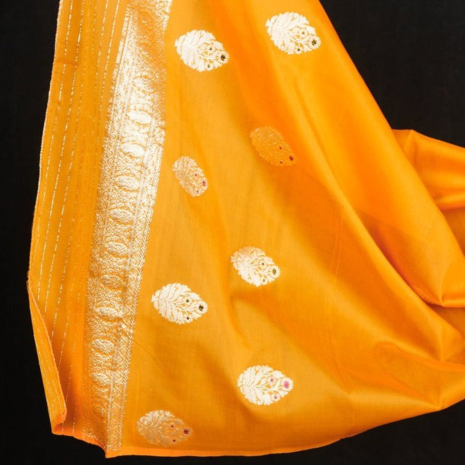 Banarasi Handwoven Pure Katan Silk Kaduwa Zari Buta 3pc Suit Material Set with Georgette Dupatta with Georgette Dupatta