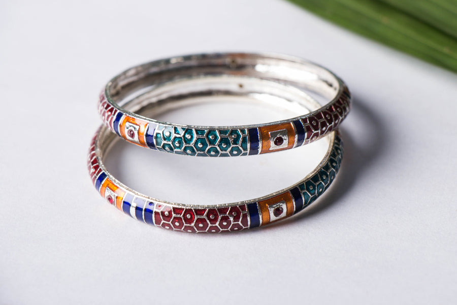 Handcrafted Paka Meenakari Bangle (Set of 2)