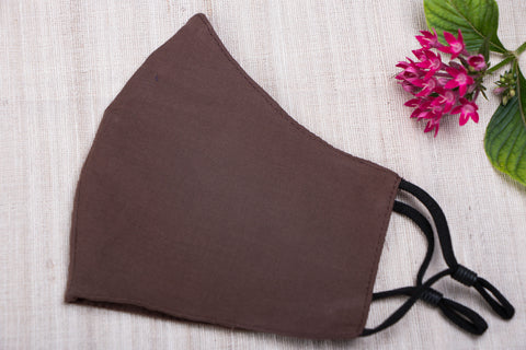 Plain Cotton Handloom Fabric 3 Layer Adjustable Elastic Snug Fit Face Cover