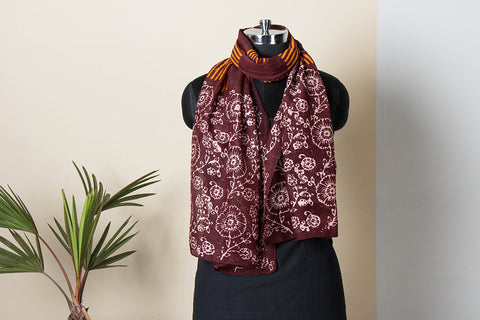 Hand Batik Print Silk Cotton Stole by Md. Shariff