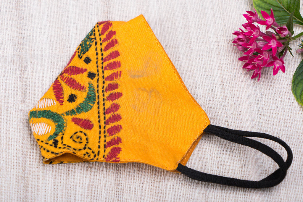 Kantha Hand Embroidered Cotton Fabric 3 Layer Snug Fit Face Cover
