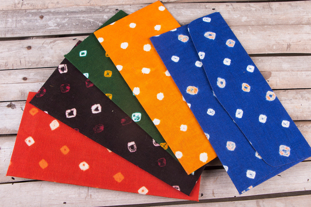 Handmade Bandhani Fabric Envelope (Set of 5)