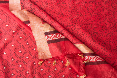 Ghicha Silk Sanganeri Hand Block Printed Saree with Tassels
