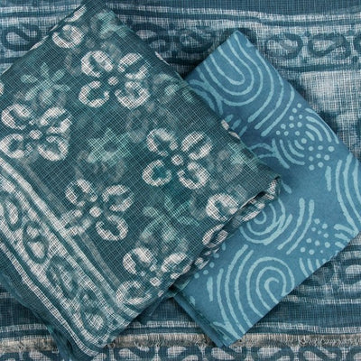 Bagru Block Printed Kota Doria 3pc Suit Material Set