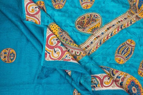 Traditional Handloom Aari Work Kalamkari Patchwork Pure Tussar Silk Saree