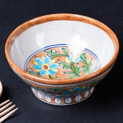 Original Blue Pottery Ceramic Bowl (Size - 6 inches)