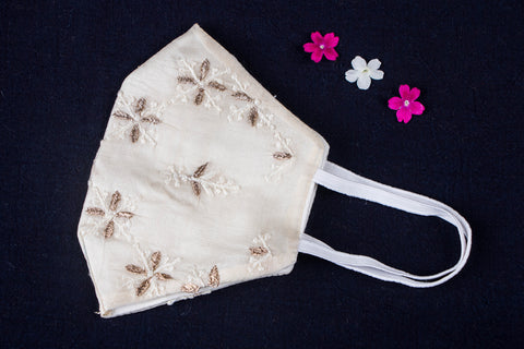 Special Chikankari & Zardozi Hand Embroidered Snug Fit 3 Layer Face Mask