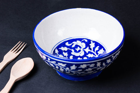 Original Blue Pottery Ceramic Bowl (Size - 8 inches)