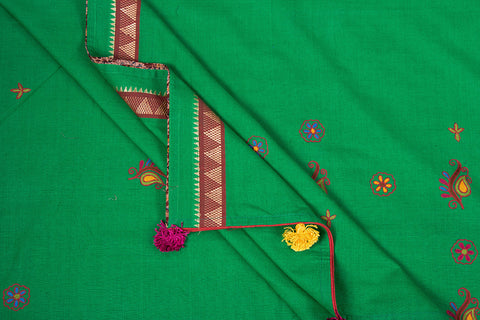 Traditional Handloom Aari Work Mangalgiri Cotton Saree with Tassels