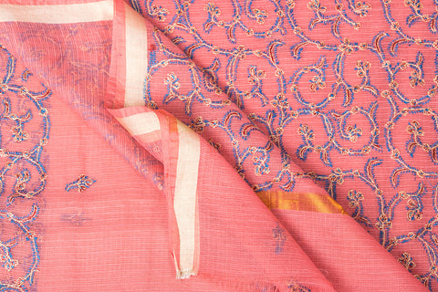 Kashidakari Hand Embroidery Kota Silk Saree with Zari Border by Zahoor from Kashmir