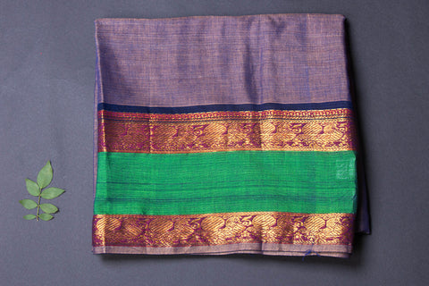 Dharwad Handloom Cotton Precut Fabric with Woven Border - 1.6 meter