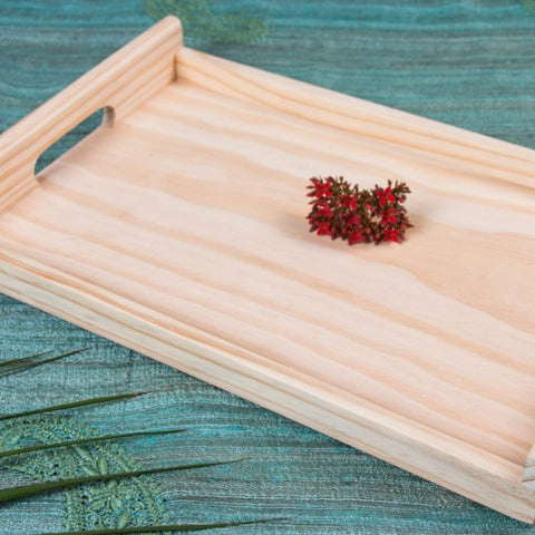 Handcarved Natural Pine Wooden Tray (10 in x 15 in)