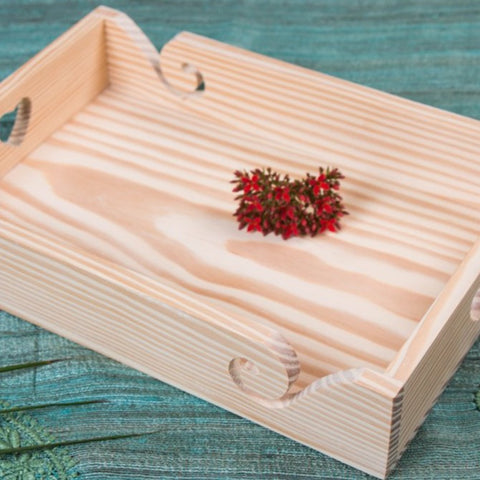 Handcarved Natural Pine Wooden Tray (8 in x 12 in)