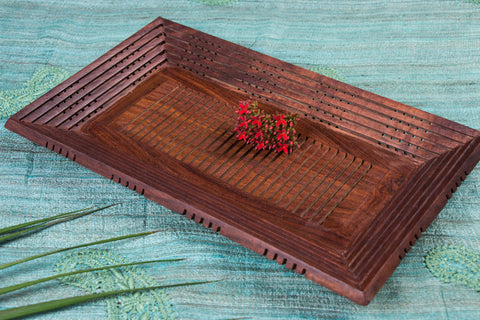 Handcarved Natural Neem Wooden Tray (8.5 in x 14 in)