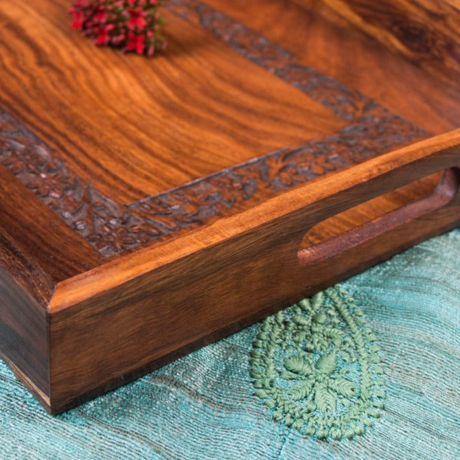 Handcarved Natural Neem Wooden Tray (12 in x 18 in)