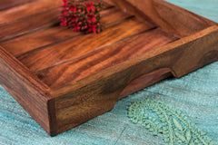 Handcarved Natural Neem Wooden Tray (8 in x 12 in)