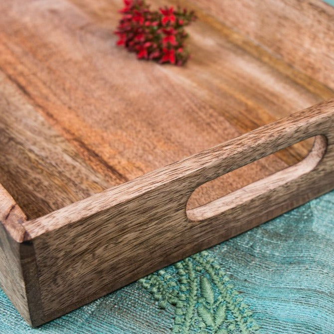 Handcarved Natural Neem Wooden Tray (10 in x 15 in)