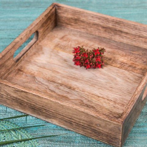 Handcarved Natural Neem Wooden Tray (12 in x 12 in)