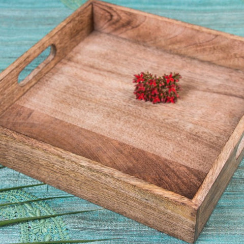 Handcarved Natural Neem Wooden Tray (10 in x 10 in)