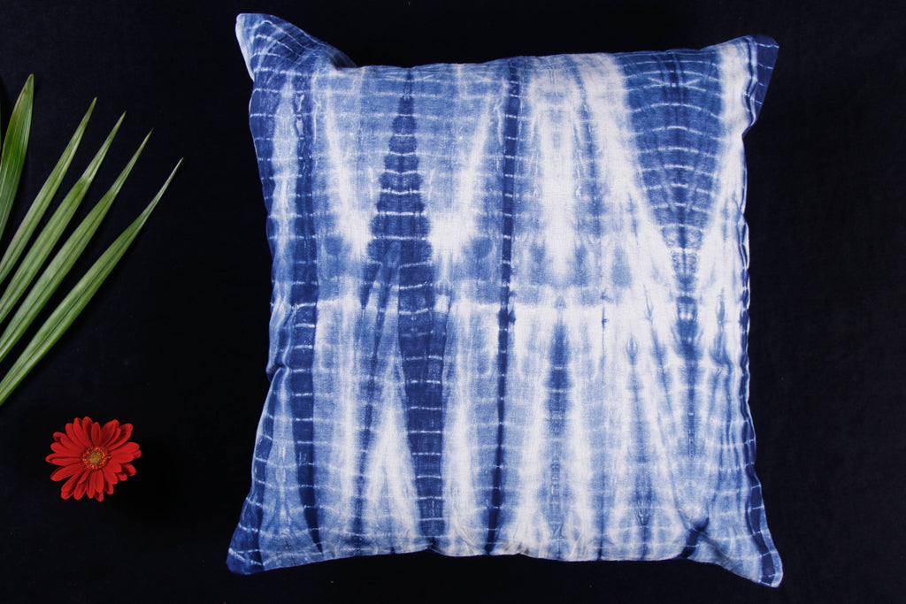 Shibori Tie-Dye Cotton Cushion Cover (16 x 16 in)