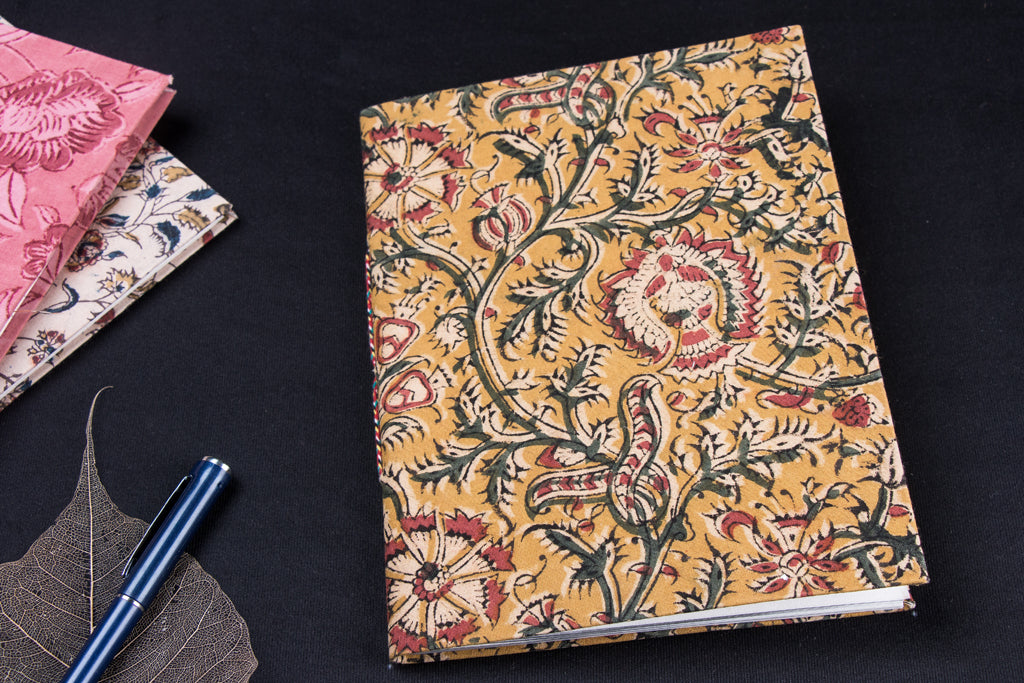 Kalamkari Fabric Cover Handmade Paper Notebook (23 x 18 cm)