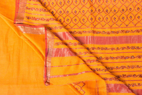 Kashidakari Hand Embroidery Maheshwari Silk Saree with Zari Border by Zahoor from Kashmir