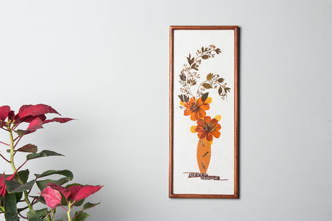 Classic Natural Flower Art Work Wall Hanging Wooden Frame (15in x 6in)