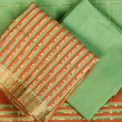 Original Mangalgiri Handloom Cotton Zari Weave 3pc Suit Material