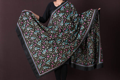 Authentic Bengal Kantha Pure Silk Handloom Dupatta by Alima Khatun