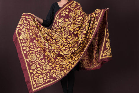 Authentic Bengal Kantha Pure Tussar Silk Handloom Dupatta by Alima Khatun