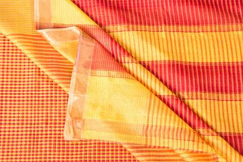 Original Mangalgiri Silk Cotton Checks Handloom Saree with Zari Border