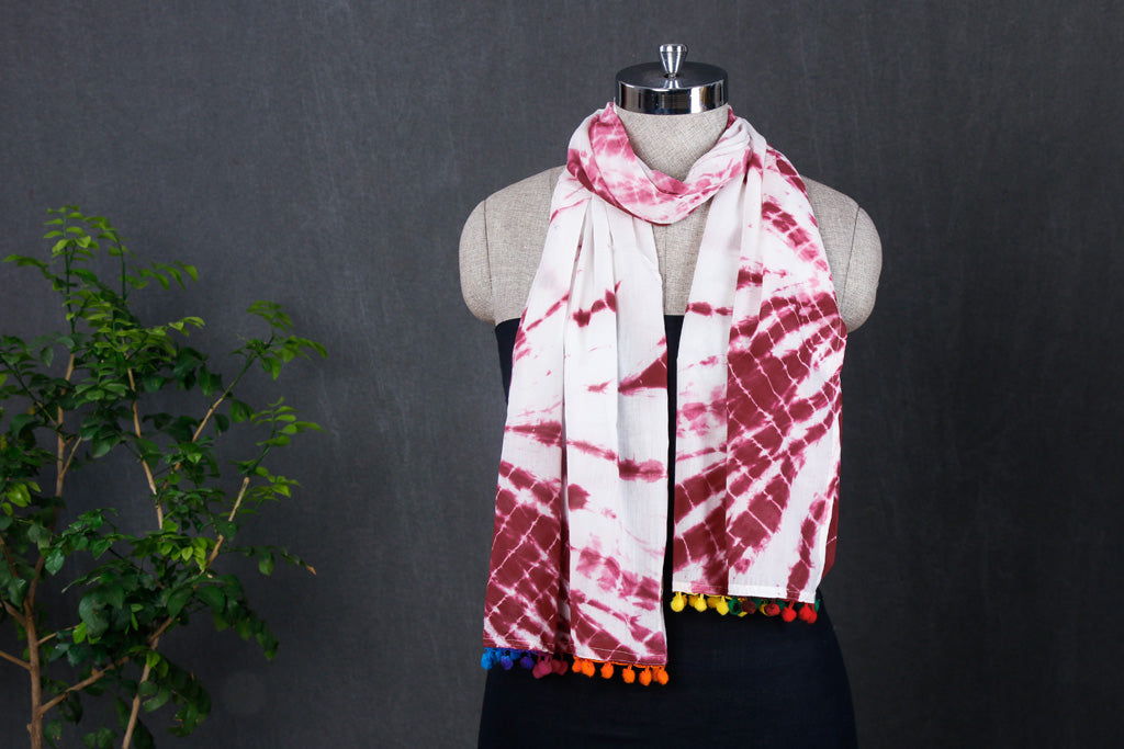 Shibori Tie-Dye Soft Cotton Stole with Pom Pom