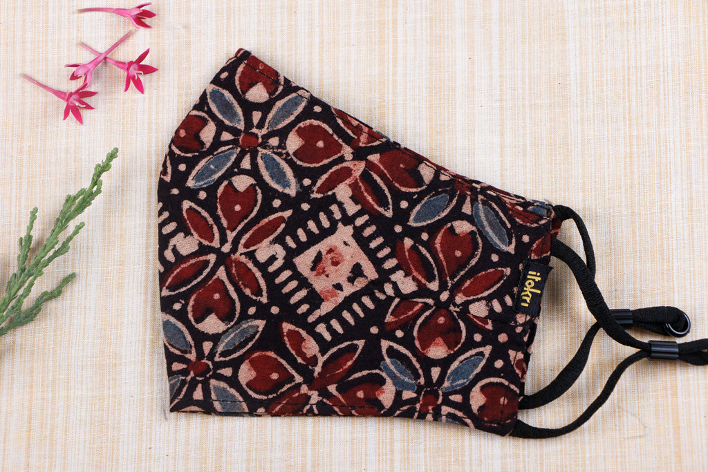 Ajrakh Block Print Cotton Fabric 3 Layer Snug Fit Face Cover