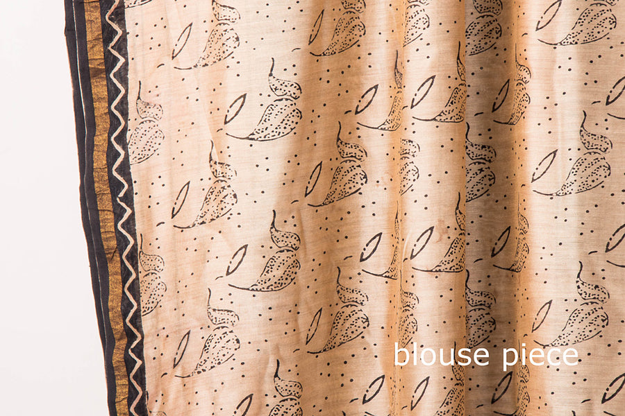 Traditional Bagru Buti Hand Block Print Chanderi Silk Zari Border Saree with Blouse