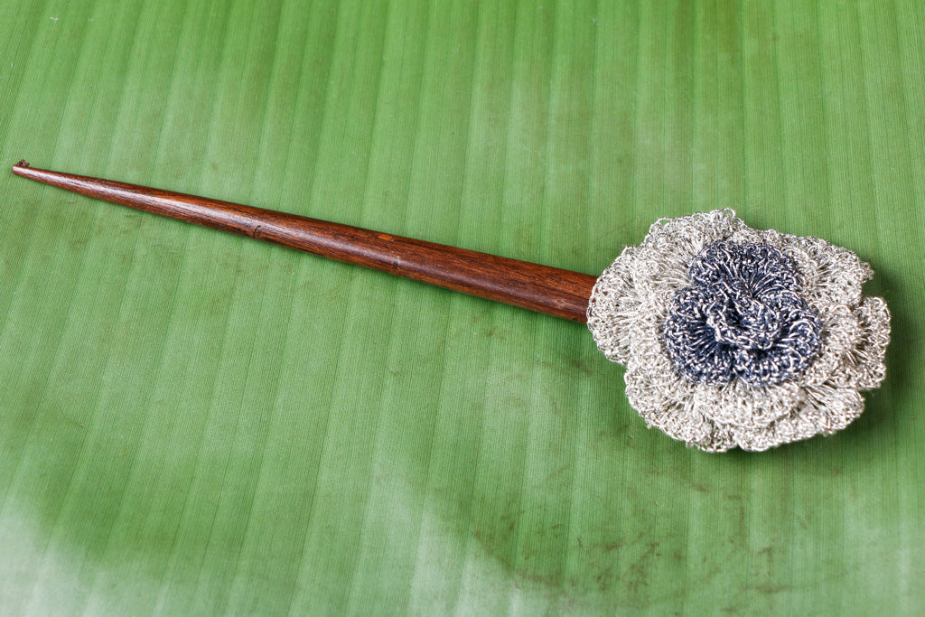 Handmade Flower Silver Metallic Thread Crochet Wooden Juda Stick by Samoolam