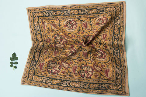 Original Pedana Kalamkari Block Printed Natural Dyed Cotton Napkin (16x16 inches)