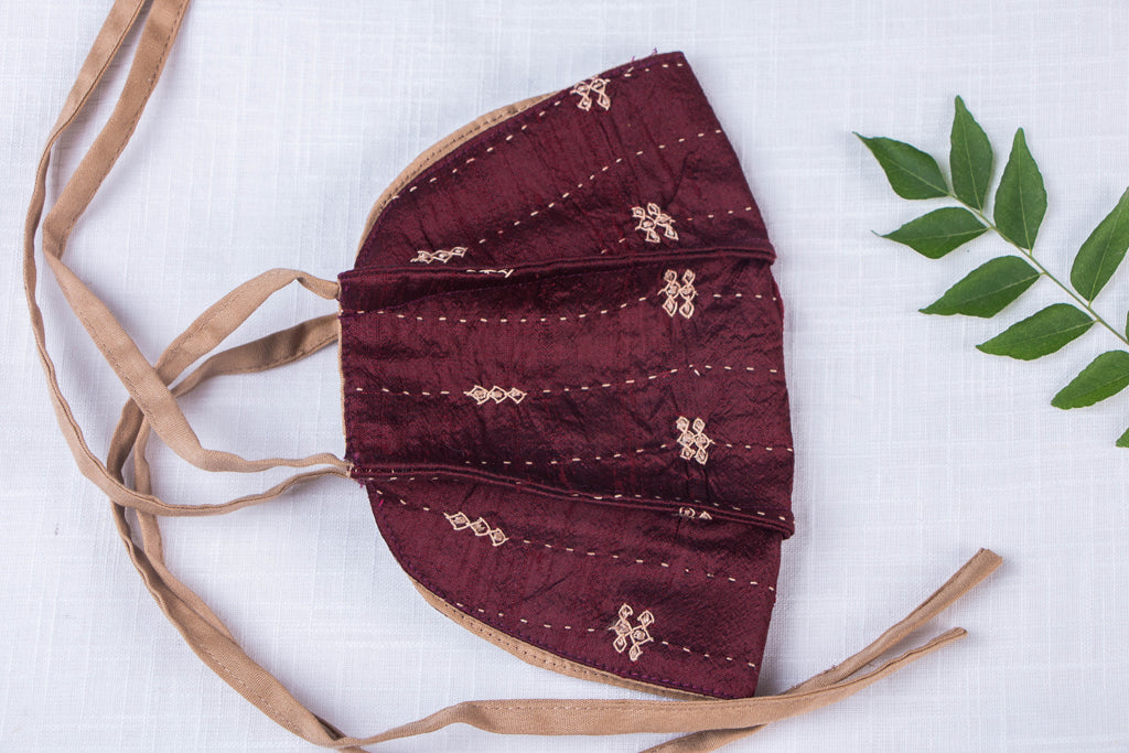 Dupion Silk Fabric Khudi Sebha Hand Embroidered 3 Layer Snug Fit Tie-on Mask with Filter Pocket