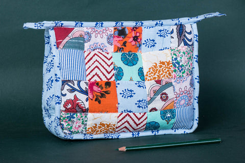 Applique Quilted Multipurpose Handmade 3 Pockets Toiletry Bag