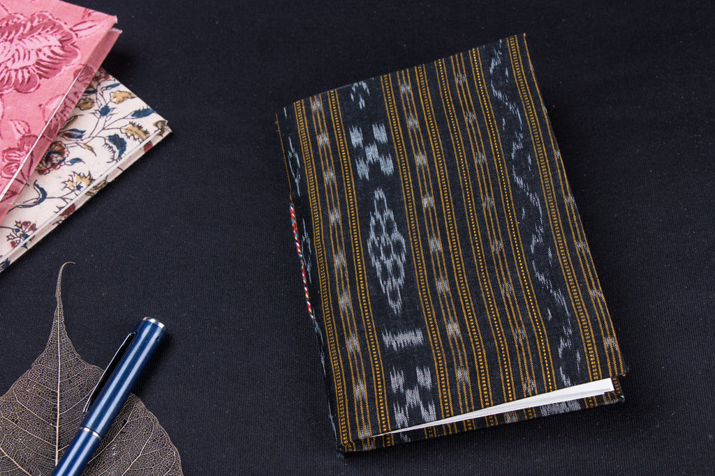 Ikat Fabric Cover Handmade Paper Notebook (18 x 13 cm)